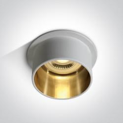 One Light Oprawa sufitowa tuba biała złota Tholos 10105D9/W/GL