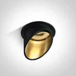 One Light Oprawa sufitowa czarna złota skośna Ewretu 10105E1/B/GL