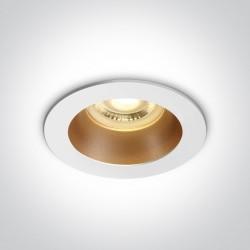 One Light Lampa wpuszczana biała mosiężna Kanawi 10105M/W/BS