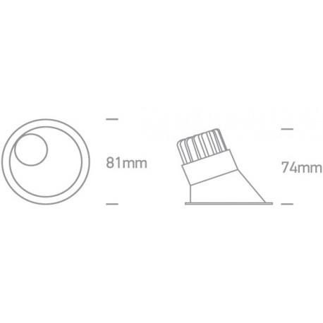 One Light Wpust LEDowy biały asymetryczny Komi 10108A/W/W