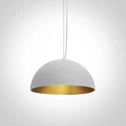 One Light lampa wisząca biało mosiężna Diasello 63022/W/BS