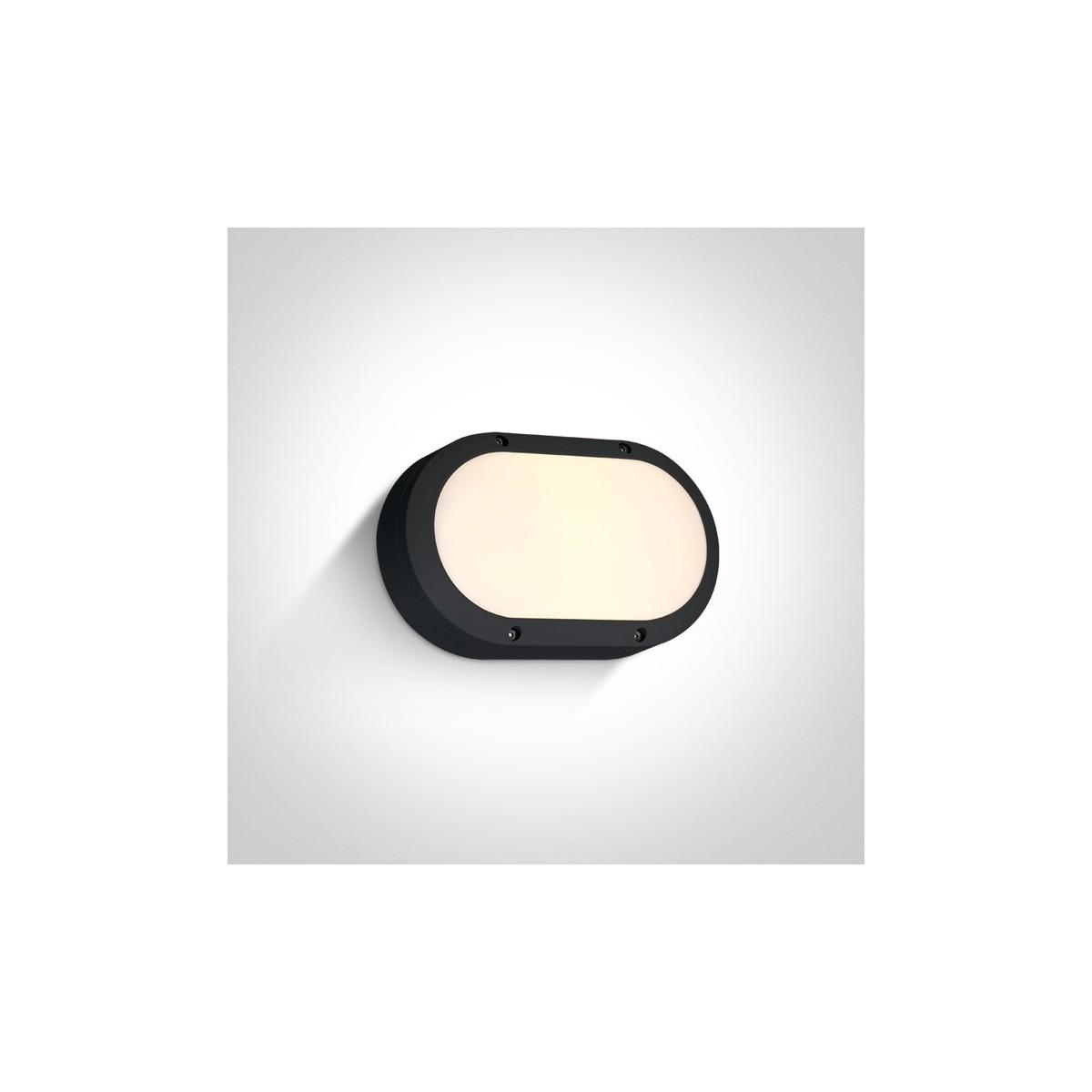 One Light kinkiet owalny czarny na ścianę elewację Kentro 67442B/B/W IP54