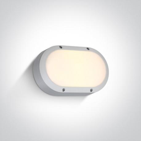 One Light kinkiet owalny biały na ścianę elewację Kentro 67442B/W/W IP54