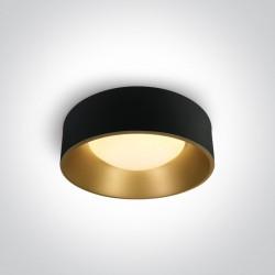 One Light plafon ozdobny LED okrągły 48 cm czarny mosiądz Asteri 67452/B/W