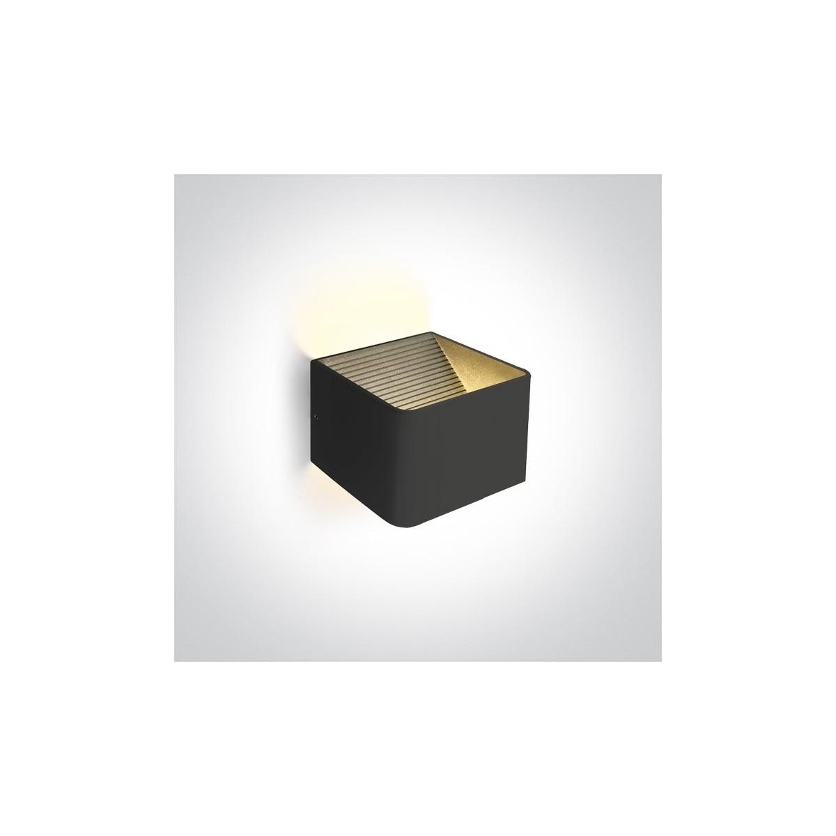 One Light nowoczesna lampa ścienna kinkiet czarny kostka Geraki 67466A/B/W