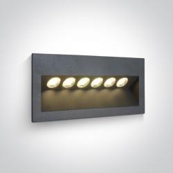 One Light lampa ścienna 6x1W oświetlenie schodów korytarza chodnika Raftis 5 68050/AN/W IP65
