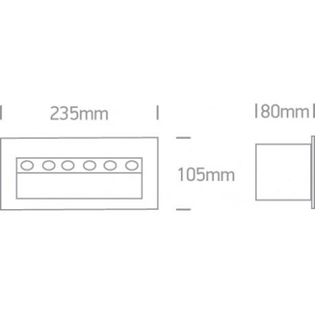 One Light lampa ścienna 6x1W oświetlenie schodów korytarza chodnika Raftis 5 68050/G/W IP65