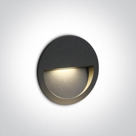 One Light wpust okrągły antracytowy do oświetlenia schodów korytarza Manolada 68068/AN/W IP65
