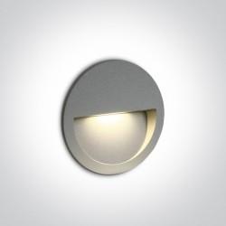 One Light wpust okrągły szary do oświetlenia schodów korytarza Manolada 68068/G/W IP65