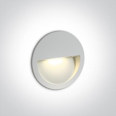 One Light wpust okrągły biały do oświetlenia schodów korytarza Manolada 68068/W/W IP65