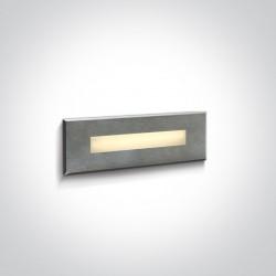 One Light wpust prostokątny stalowy LED do oświetlenia korytarza schodów Letrina 68072B/W IP65