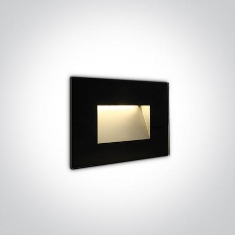One Light wpust czarny szklany LED do oświetlenia korytarza schodów Levidi 68076/B/W IP65