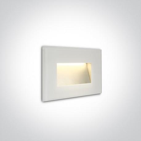 One Light wpust biały szklany LED do oświetlenia korytarza schodów Levidi 68076/W/W IP65