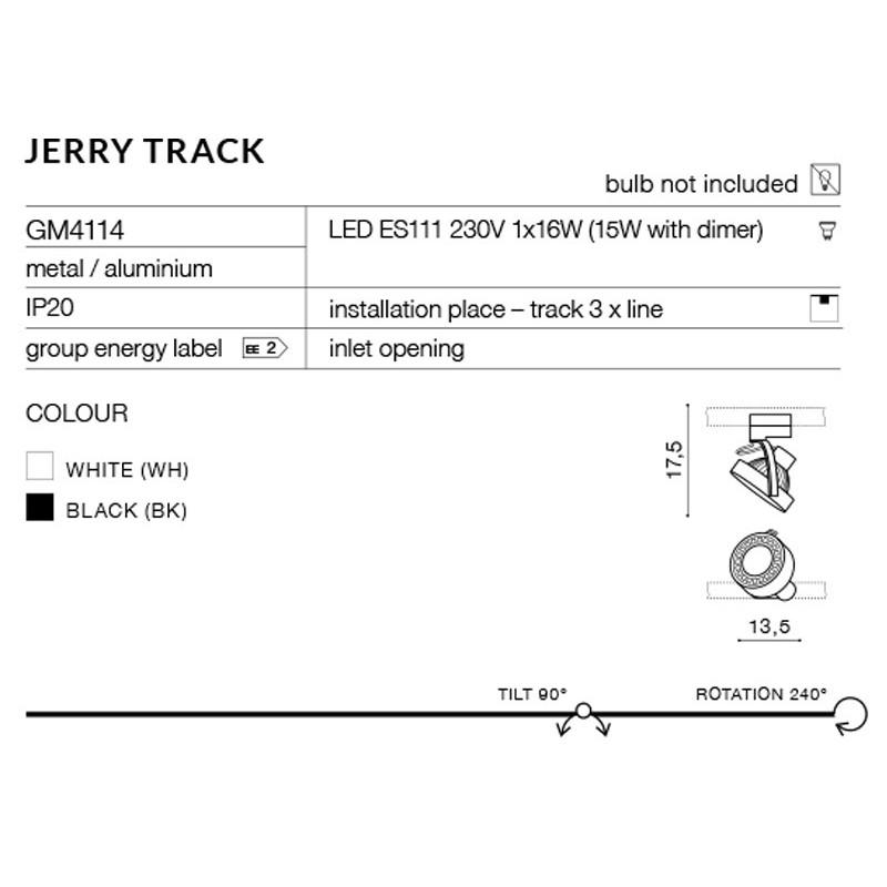 AZzardo JERRY Track 3F 1xES111/GU10 Czarny AZ2458