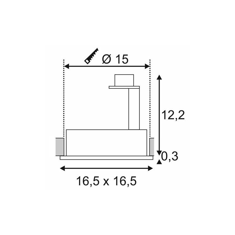 SPOTLINE/SLV NEW TRIA I ES111 Wbudowana. Kwadratowa. Aluminium mat. GU10. max. 75W 111381 Wpust