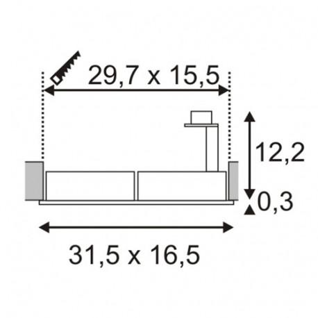 SPOTLINE/SLV NEW TRIA II ES111 Wbudowana. Prostokątna. Aluminium mat. GU10. max. 2x 75W 111382 Wpust