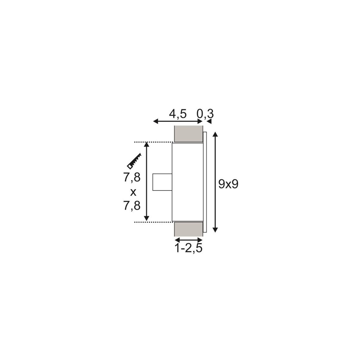 SPOTLINE/SLV FLAT FRAME CURVE Wbudowana. Kwadratowa. Biały. G4. max. 20W 112771 Wpust