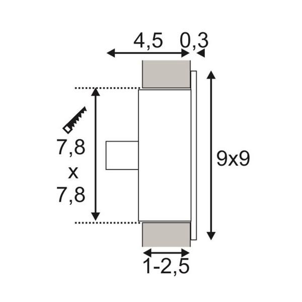 SPOTLINE/SLV FLAT FRAME CURVE Wbudowana. Kwadratowa. SrebrnoSzary. G4. max. 20W 112772 Wpust