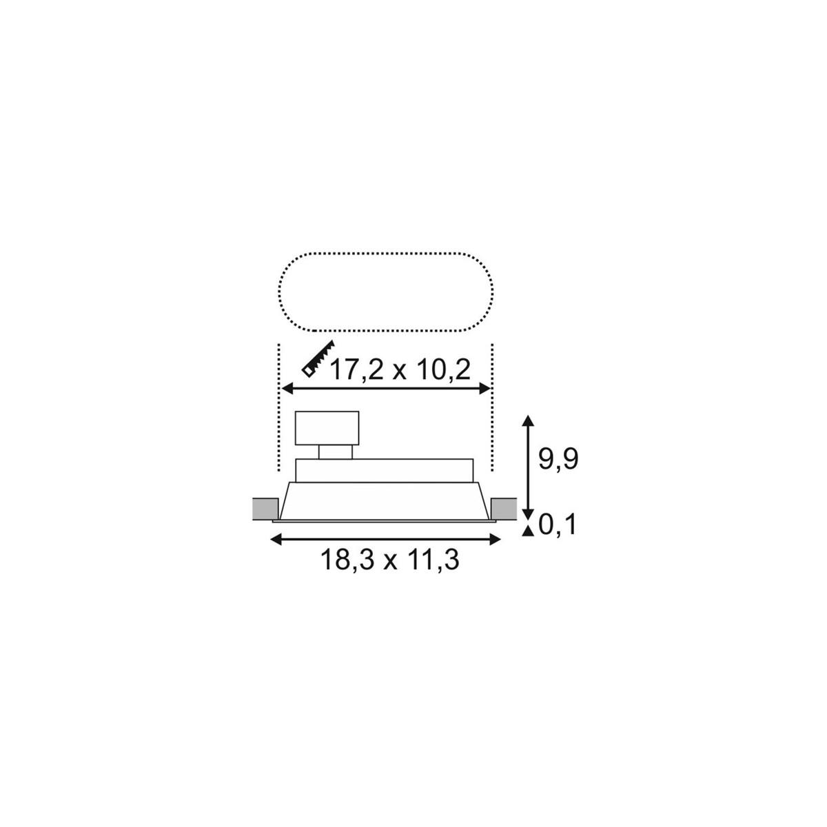 SPOTLINE/SLV HORN 2 TURNO GU10 Wbudowana. Owalna. Biały mat max. 2x 50W 113111 Wpust
