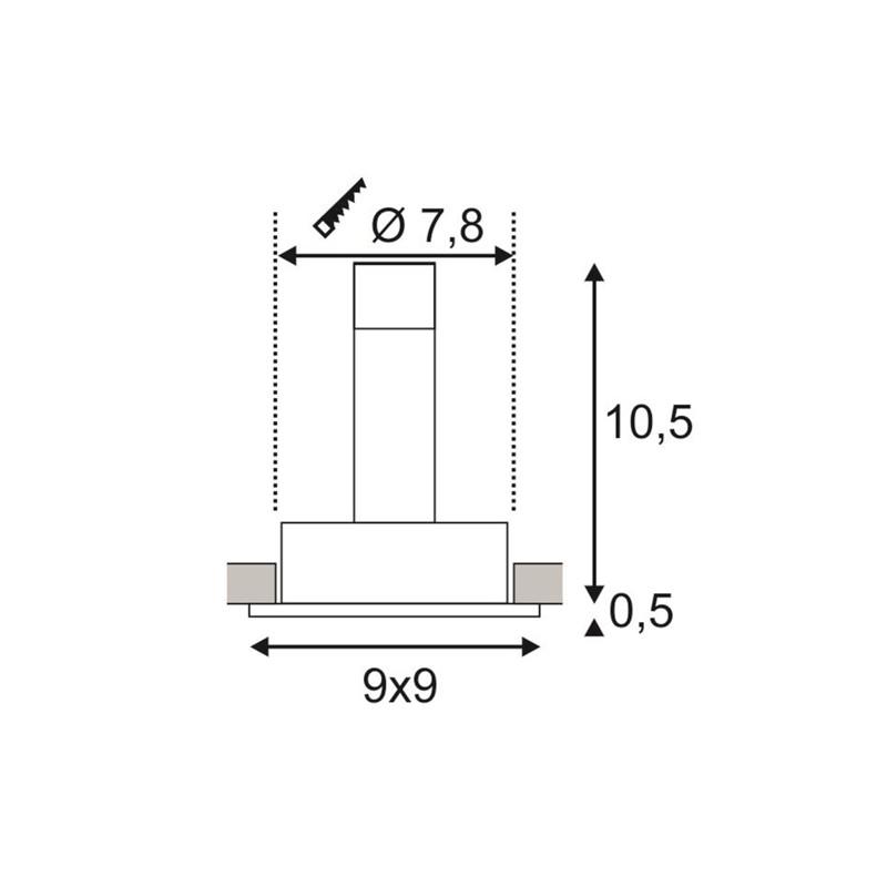 SPOTLINE/SLV NEW TRIA I GU10 Wbudowana. Kwadratowa. Czarny mat. max. 50W. 113491 Wpust
