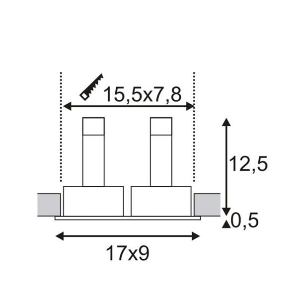 SPOTLINE/SLV NEW TRIA II GU10 Wbudowana. Prostokątna. Czarny mat. max. 2x 50W. 113492 Wpust