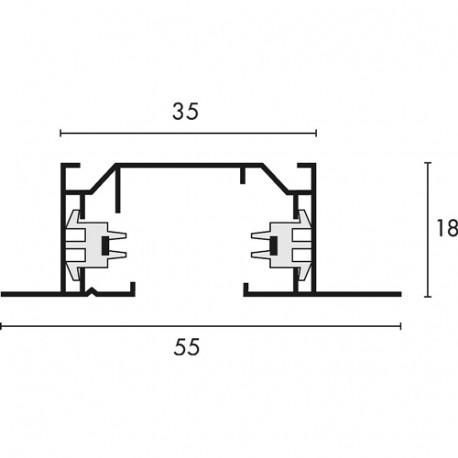 SPOTLINE/SLV 1-fazowa Szyna HV. wbudowana. Biały. 2m 143221