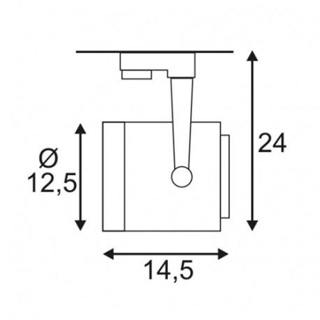 SPOTLINE/SLV EURO SPOT ES111. okrągła. SrebrnoSzary. GU10. max. 75W. wraz z adapterem 3-fazowym 153424 Reflektor