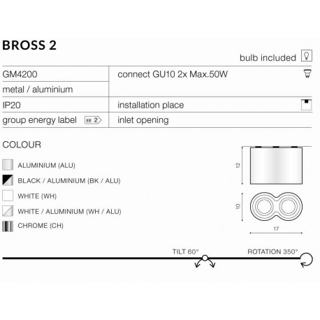 AZzardo BROSS 2 WH (LED GRATIS) Biały AZ0859 Sufitowa
