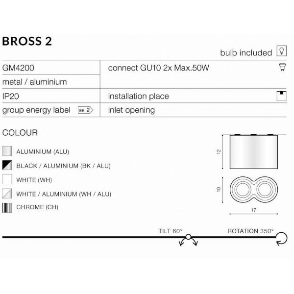Azzardo BROSS 2 WHITE 2xGU10 Natynkowa Biały AZ0859