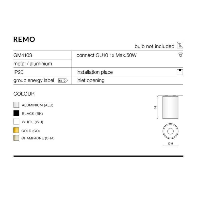 AZzardo REMO 1 WH GM4103 WH Sufitowa