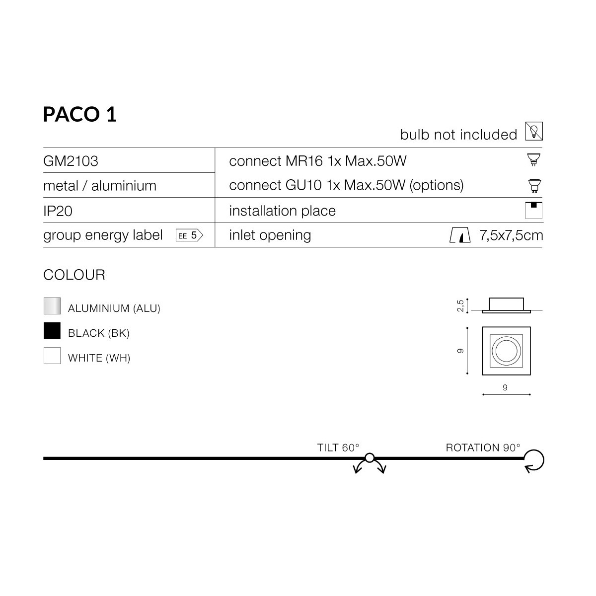 Azzardo PACO 1 ALUMINIUM 1xGU10 Wpuszczana Aluminium AZ0795