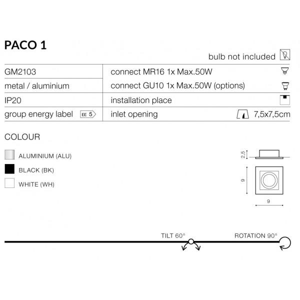 Azzardo PACO 1 WHITE 1xGU10 Wpuszczana Biały AZ0796