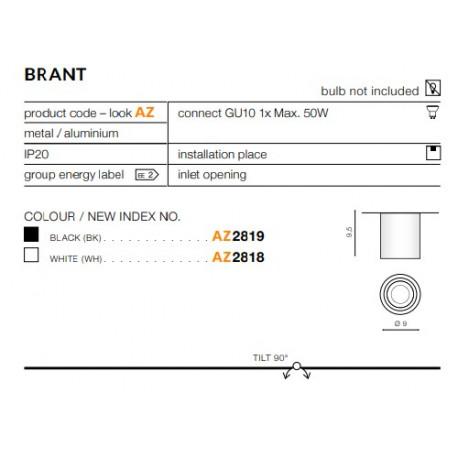 Azzardo Brant (LED GRATIS) Sufitowa Biały 1xGU10 50W AZ2818