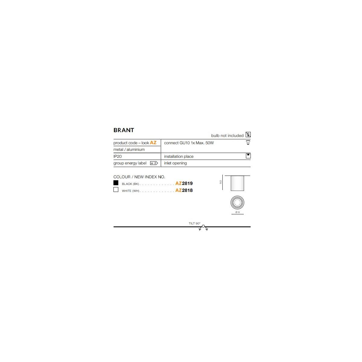 Azzardo BRANT WHITE 1xGU10 Natynkowa Biały AZ2818
