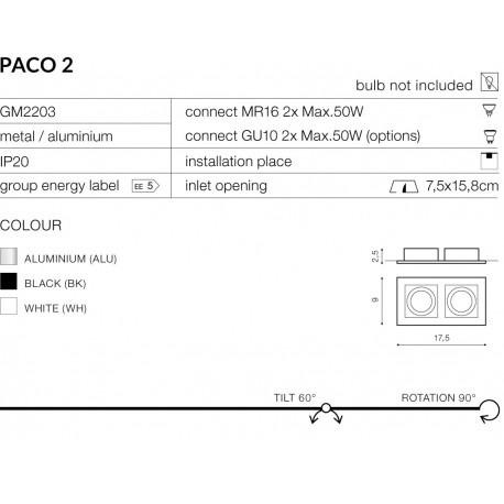 AZzardo PACO 2 Biały AZ0799 Wpust