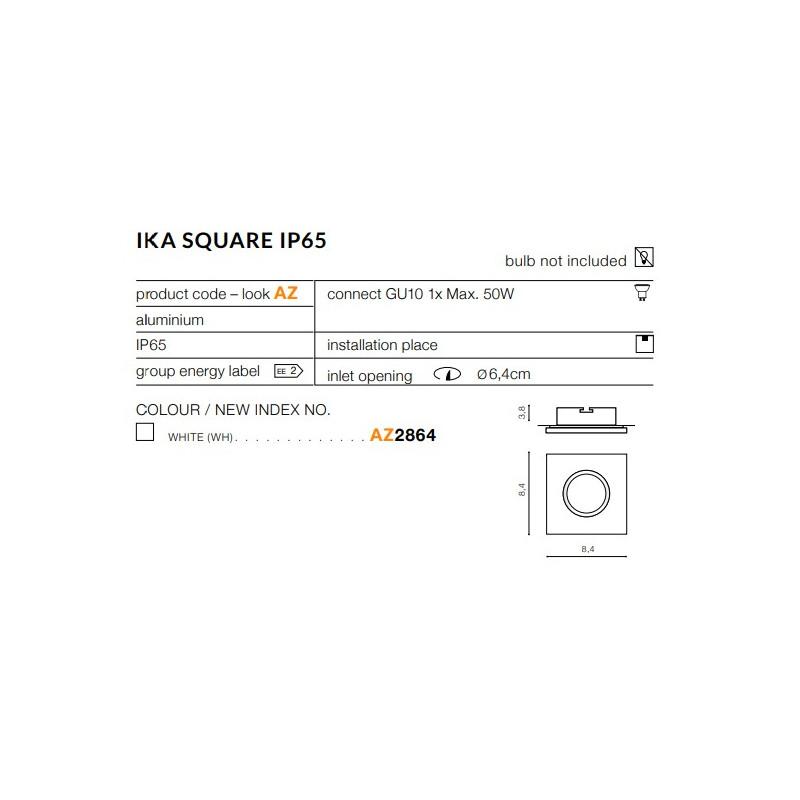 Azzardo Ika Square IP65 Biały Wpust 1xGU10 50W AZ2864