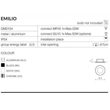 Azzardo EMILIO 1 ALUMINIUM 1xGU10 Wpuszczana Aluminium IP54 AZ0810