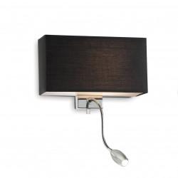 Ideal Lux HOTEL AP2 NERO Czarny Kinkiet 1xE27 + 1xLED 1W 45lm 035956