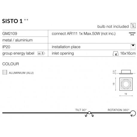Azzardo SISTO 1 ALUMINIUM 1xES111 Wpuszczana Aluminium AZ0793