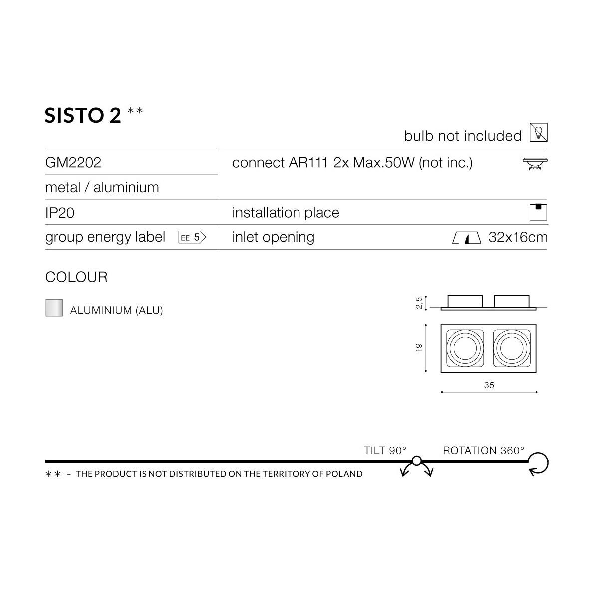 Azzardo SISTO 2 ALUMINIUM 2xES111 Wpuszczana Aluminium AZ0794