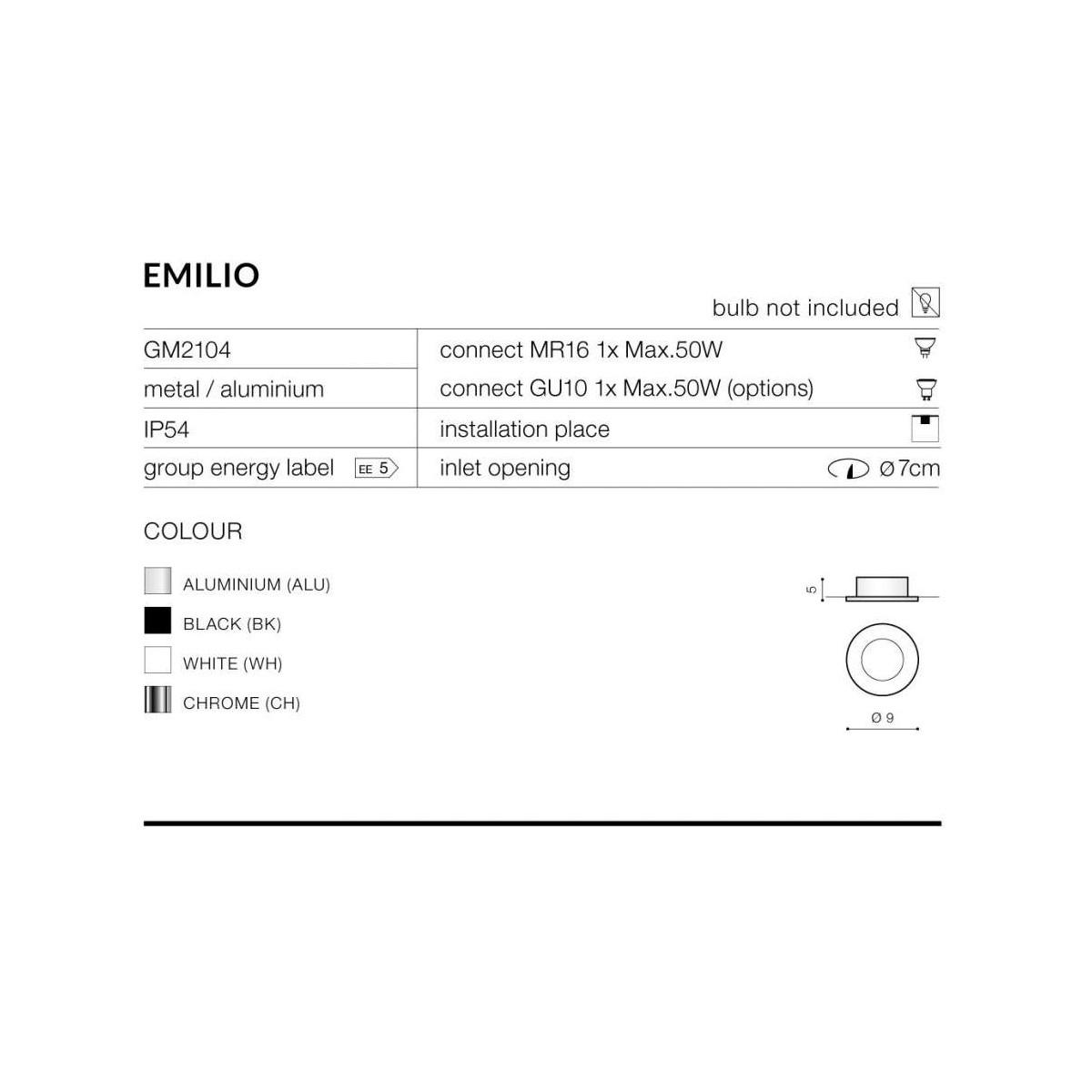 Azzardo EMILIO 1 CHROME 1xGU10 Wpuszczana Chrom IP54 AZ0808