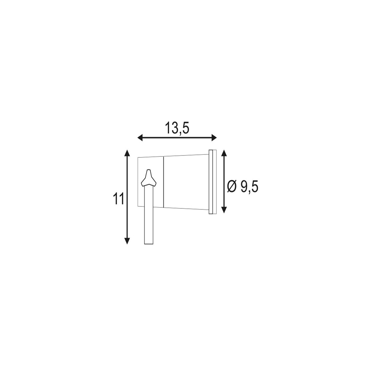 SPOTLINE/SLV NAUTILUS SPIKE XL. Czarny. GU10 max. 11W. wraz z 1.5m przewód z wtyczką 227410 Reflektor