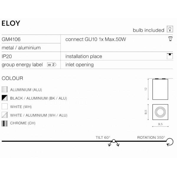 Azzardo ELOY 1 WHITE/ALUMINIUM 1xGU10 Natynkowa Aluminium AZ0872