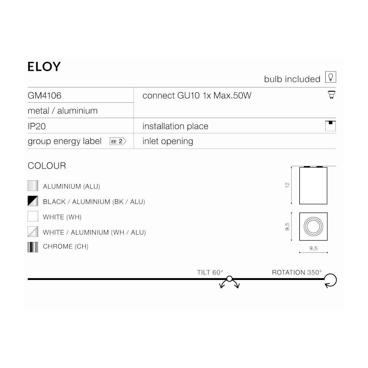 Azzardo ELOY 1 WHITE 1xGU10 Natynkowa Biały AZ0929