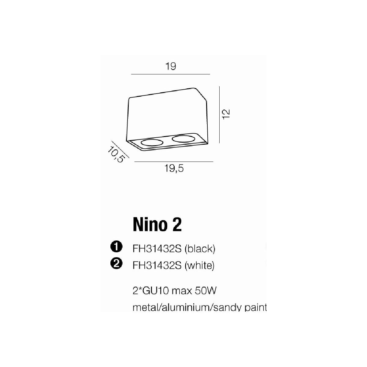 Azzardo NINO 2 WHITE/CHROM 2xGU10 Natynkowa Biały/Chrom AZ0737