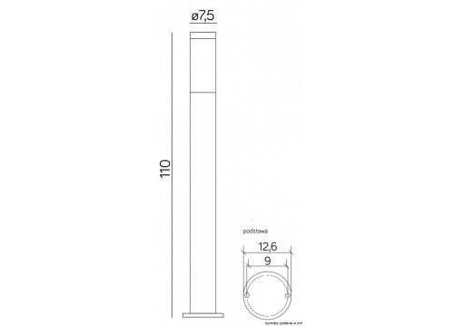 SU-MA Inox Czarny ST022-1100 BL Stojąca