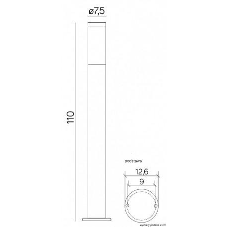 SU-MA Inox ST 022-1100 110 cm Stojąca