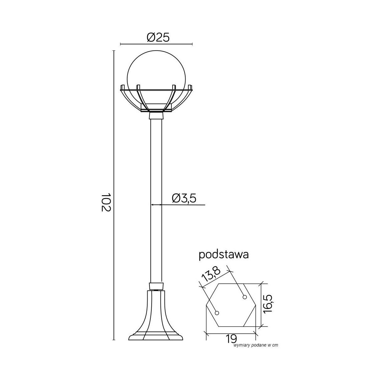 SU-MA Kule z koszykiem 200 102 cm K 5002/2/KPO Stojaca