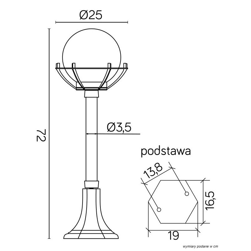 SU-MA Kule z koszykiem 200 72 cm K 5002/3/KPO Stojaca