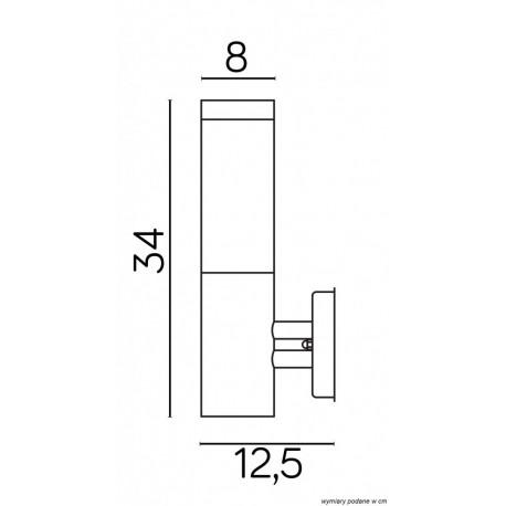 SU-MA INOX KWADRATOWY SS802-A BL Kinkiet